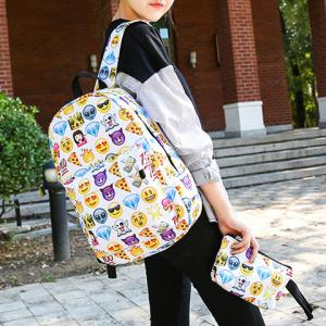 Emoji Printed Nylon Backpack - COLORMIX