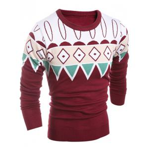 Geometric Pattern Ribbed Crew Neck Sweater -