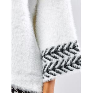 Jacquard Fuzzy Loose Sweater - WHITE ONE SIZE