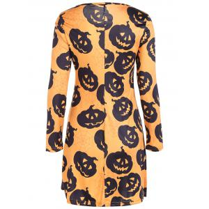 Pumpkin Print Long Sleeve Halloween Mini Swing Dress - SWEET ORANGE L