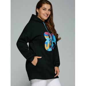 Plus Size Colorful Number Print Drawstring Hoodie -