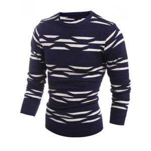 Geometric Pattern Crew Neck Flat Knitted Sweater - CADETBLUE 2XL