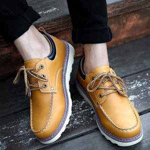 PU Leather Stitching Lace-Up Work Shoes -