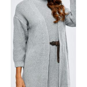 High Neck Belted Sweater Dress and Collarless Cardigan -