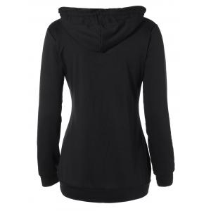 Buttoned Plus Size Drawstring Hoodie - BLACK 2XL