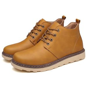 Eyelet PU Leather Lace-Up Short Boots - LIGHT BROWN 44