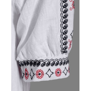 Embroidered Peasant Dress - WHITE ONE SIZE