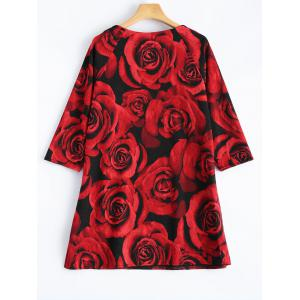 3D Rose Print Plus Size 3/4 Sleeve T-Shirt - RED ONE SIZE