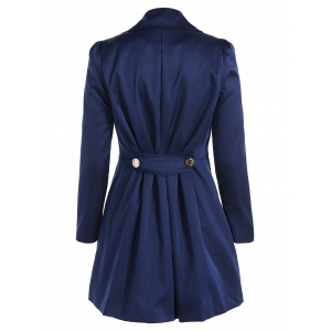 Fit and Flare Coat With Double Breasts - CADETBLUE 2XL