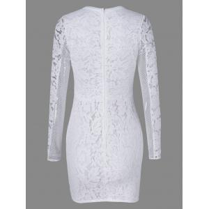 Tight Mesh See Through Sheer Lace Fitted Dress - WHITE M