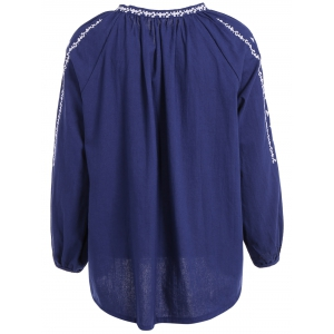 Long Sleeve Embroidered Peasant Blouse - BLUE ONE SIZE
