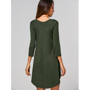 V-Neck Asymmetrical Casual Day Dress Fall - ARMY GREEN XL