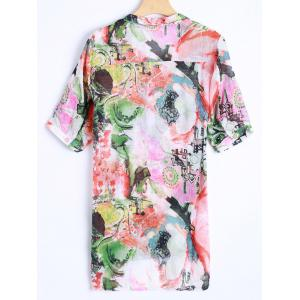 Plus Size Asymmetrical Abstract Print Blouse -