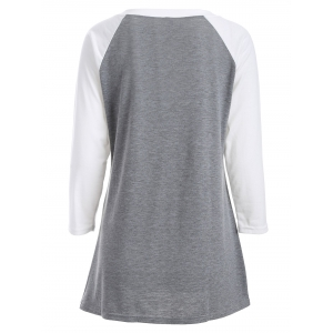 Letter  Raglan Sleeve Funny Graphic Tees - GRAY S