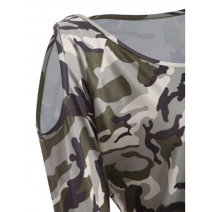 Cold Shoulder Camo Long Sleeve T-Shirt -