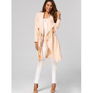 Fringed Open-Front Asymmetrical Trench Coat - APRICOT S