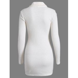 Casual Mini Long Sleeve Bodycon Turtleneck Sweater Dress - WHITE XL