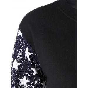 Stars and Stripes Drop Shouler Sweatshirt - BLACK 3XL