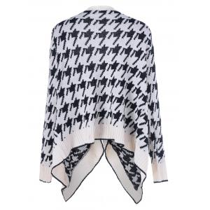 Asymmetrical Geometrical Loose Collarless Cardigan - WHITE ONE SIZE