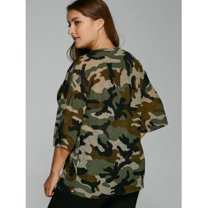 Drop Shoulder Plus Size Camouflage T-Shirt -