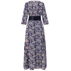 3/4 Sleeve Retro Print Belted Dress - PURPLISH BLUE XL