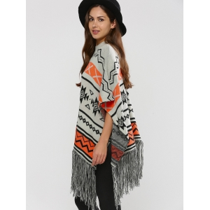 Hallowmas Jacquard Fringed Cape Sweater - GRAY XL