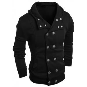 Long Sleeve Side Pocket Double Breasted Hoodie -
