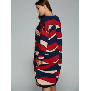 Plus Size Long Sleeve Stripe Casual Dress - RED 4XL