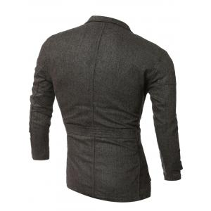 Epaulet Design Single-Breasted Pockets Jacket - COFFEE XL