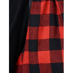 Plaid PU Pockets Hooded Waistcoat -