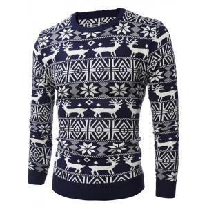 Deer Pattern Crew Neck Snowflake Christmas Sweater -