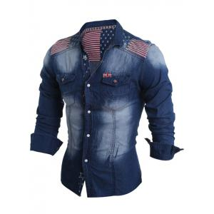 Flag Pattern Striped Snap Button Jean Shirt -