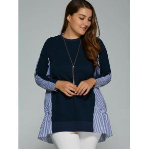 Long Sleeve Plus Size Striped Insert Top - PURPLISH BLUE 4XL