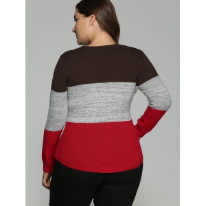 Plus Size Color Block Pullover Knit Sweater - COLORMIX 5XL