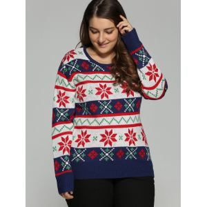 Plus Size Christmas Jacquard Pullover Knit Sweater - WHITE 2XL