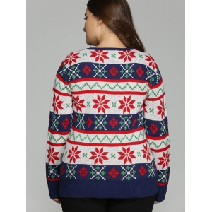 Plus Size Christmas Jacquard Pullover Knit Sweater - WHITE 5XL
