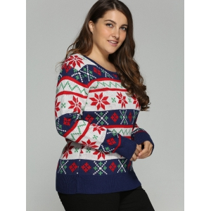 Plus Size Christmas Jacquard Pullover Knit Sweater - WHITE 3XL