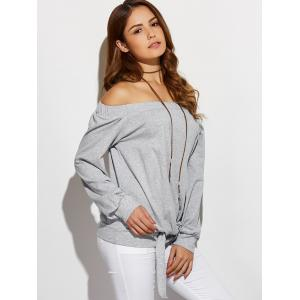 Off The Shoulder Front Knotted T-Shirt - GRAY L