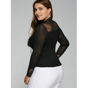 Plus Size Lace Insert Elastic T-Shirt with Long Sleeve -