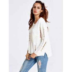 High-Low Cut Out Baggy Sweater - WHITE ONE SIZE