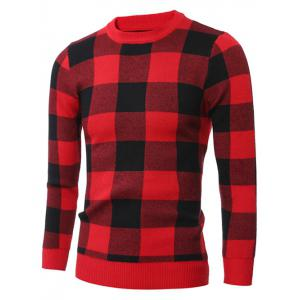 Slim-Fit Crew Neck Checkered Pullover Sweater - RED 2XL