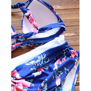 Halter High Waisted Tropical Bikini - BLUE 3XL