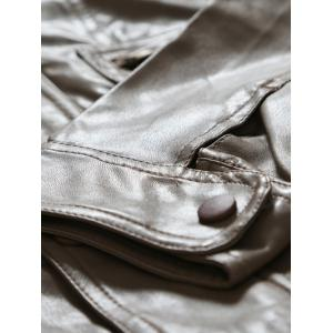 Slim-Fit Multi Pocket Design PU Leather Jacket - CAMEL L