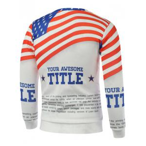 American Flag Letters Print Long Sleeve Sweatshirt -