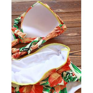 Halter High Waisted Floral Tropical Bikini - ORANGE 3XL