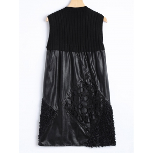 Casual Cut Out Lace Rhombus and Knit Patch PU Dress - BLACK ONE SIZE