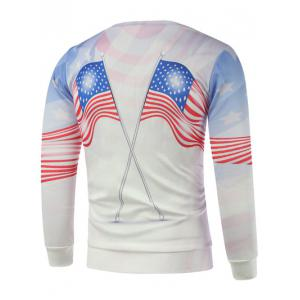 American Flags Print Long Sleeve Sweatshirt - WHITE 3XL
