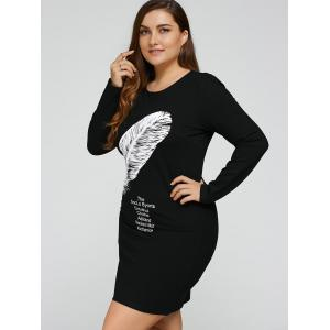 Plus Size Feather Print Short Dress - BLACK 3XL
