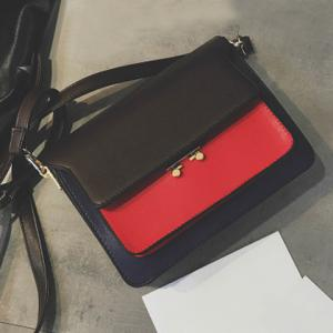 PU Leather Color Block Crossbody Bag - RED