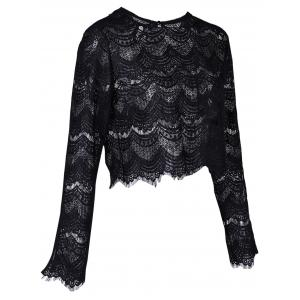 Round Neck Long Sleeve Lace Top - BLACK XL